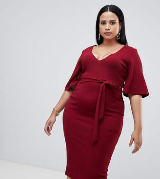 at ASOS · Missguided Plus kimono sleeve plunge midi dress in red 614d2db13e36