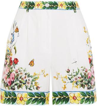Dolce & Gabbana - Printed Cotton-poplin Bermuda Shorts - White $675 thestylecure.com