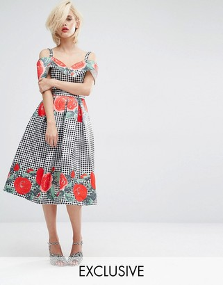 Horrockses Gingham Floral Midi Dress with Off Shoulder Neckline $203 thestylecure.com