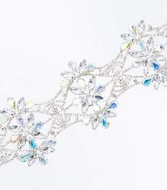 New Look Silver Gem Embellished Flower Choker