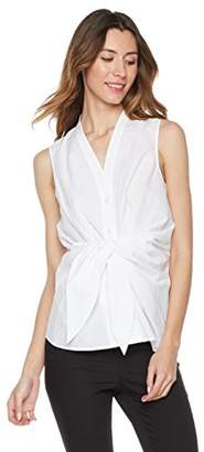 Essentialist Women's Sleeveless Button Down Shirt Front Tie