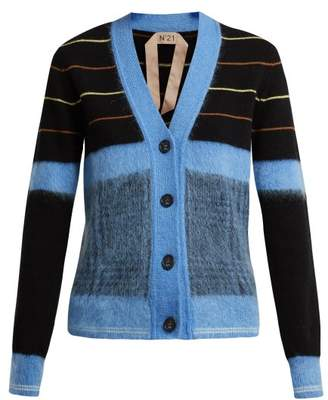 No.21 No. 21 - Striped Wool Cardigan - Womens - Blue Multi