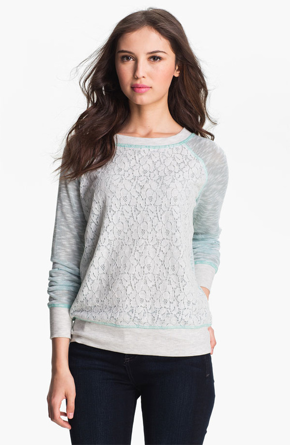 Olivia Moon Lace Front Sweatshirt