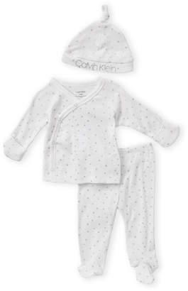 Calvin Klein Newborn Boys) 3-Piece Star Logo Footie & Leggings Set