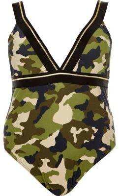 River IslandRiver Island Womens Plus khaki camo print plunge swimsuit