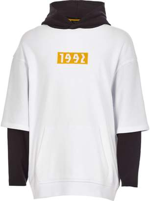 River Island Boys white '1992' double sleeve hoodie