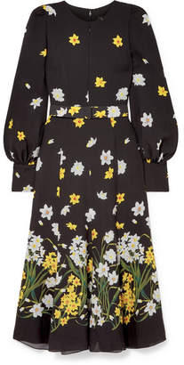Andrew Gn Belted Floral-print Silk Midi Dress - Black
