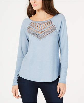 e8a4340061 ... INC International Concepts I.n.c. Lace-Trim Sweatshirt