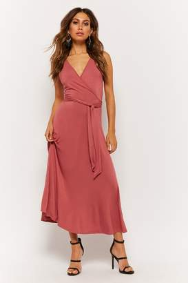 Forever 21 Belted Surplice Midi Dress
