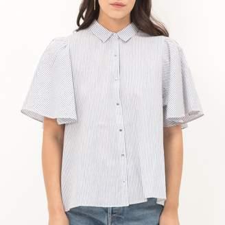 Le Temps Des Cerises Loose Fit Boyfriend Shirt with Polo Collar