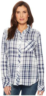 Dylan by True Grit Fresh White and Denim One-Pocket Plaid Luxe Double Cloth Shirt Women's Long Sleeve Button Up