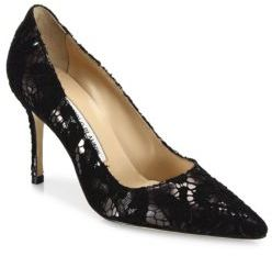 Manolo Blahnik BB 90 Lame Lace Pumps $745 thestylecure.com