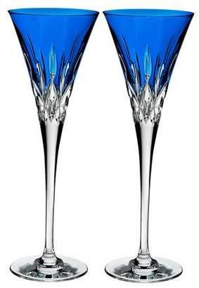 Waterford Crystal Lismore Pops Cobalt Toasting Flutes, Set of 2