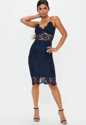 Missguided Navy Strappy Lace Midi Dress