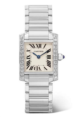 Cartier Tank Française 25.2mm Small Stainless Steel And Diamond Watch - Silver
