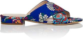 Barneys New York Women's Floral Satin Brocade Slide Sandals