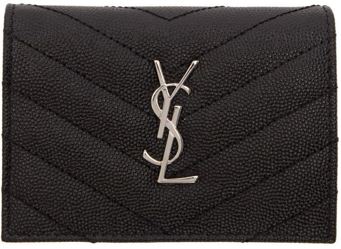 Saint Laurent Black Quilted Monogram Flap Card Holder