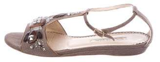Oscar de la Renta Embellished Woven Sandals