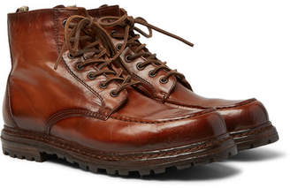 Officine Creative Fleece-Lined Burnished-Leather Boots