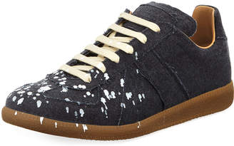 Maison Margiela Men's Replica Paint-Splatter Suede Low-Top Sneakers