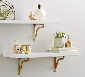 Pottery Barn Sarah Bartholomew Nola Shelf With Brackets - White/Gold