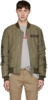 R 13 Green Ripped Puffer Bomber Jacket