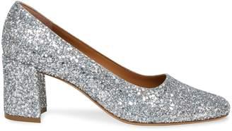 Mansur Gavriel Glitter Square Toe Heel