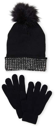 Maniere (Girls 7-16) Faux Fur Accented Beanie & Glove Set
