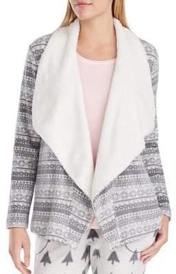Kensie Contrast Fleece Cardigan