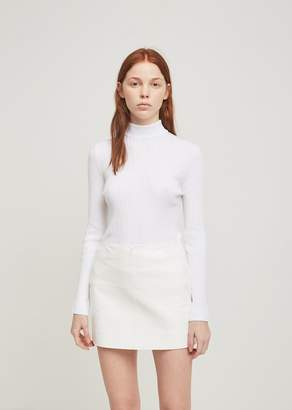 Courreges Col Montant Manches Ribbed High Neck Pullover White