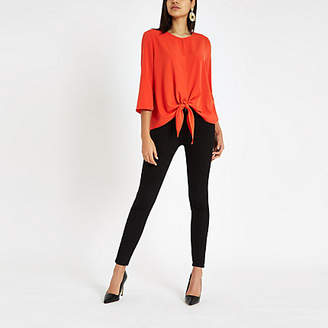 River Island Red tie front long sleeve top