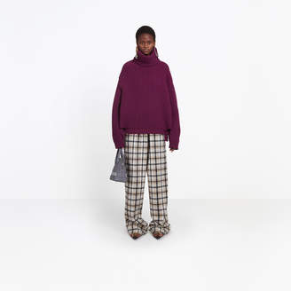 Balenciaga Large turtleneck heavy sweater in a fisherman ribs stitch