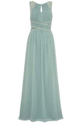 Quiz Sage Green Chiffon High Neck Embellished Maxi Dress