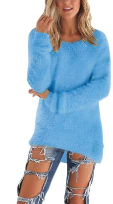 Suvotimo Women Casual Thick Knit Pullover Fleece High Low Sweater M