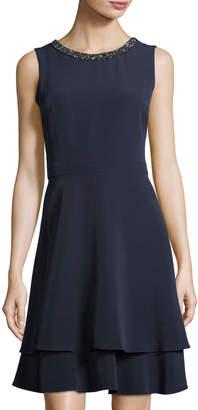 Taylor Embellished-Neck Fit-and-Flare Dress