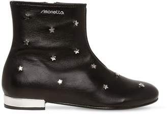 Simonetta Stars Studded Leather Ankle Boots