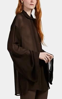 The Row Women's Sarabeth Chiffon Bell-Sleeve Blouse - Dk. brown