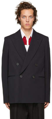 Wooyoungmi Navy Wool Double-Breasted Blazer