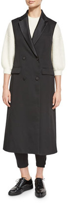 3.1 Phillip Lim Long Wool Double-Breasted Tuxedo Vest, Black $995 thestylecure.com