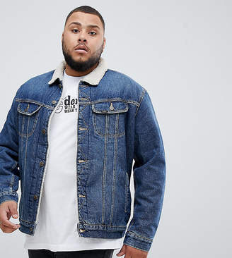 Lee plus borg borg denim jacket vintage wash
