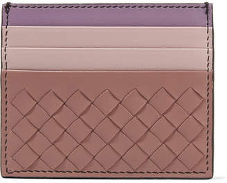 Bottega Veneta Color-block Intrecciato Leather Cardholder - Antique rose