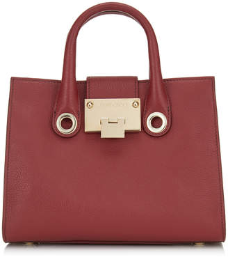 Jimmy Choo RILEY/S Red Grainy Calf Leather Mini Tote Bag