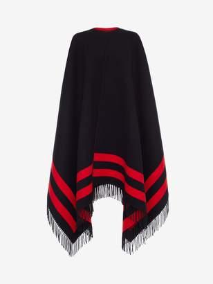 Alexander McQueen Wool Stripe Cashmere Cape