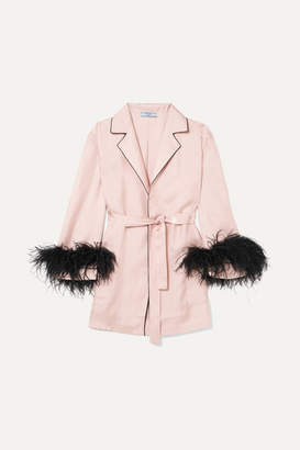 Prada Feather-embellished Silk-twill Robe - Pink