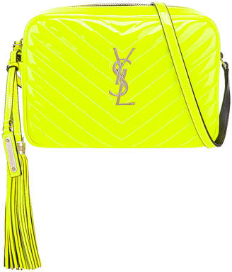 Saint Laurent Medium Monogramme Lou Satchel Bag in Neon Yellow | FWRD