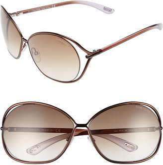 Tom Ford Carla 66mm Oversized Round Metal Sunglasses