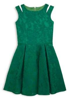 Girl's Embroidered Mesh Sleeveless Dress