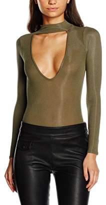 boohoo Women's Jessica Choker Rib Knite Bodysuit Regular Fit #308 Long Sleeve Tops