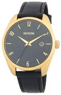 Nixon Bullet Leather Stainless Steel Quartz Strap Watch
