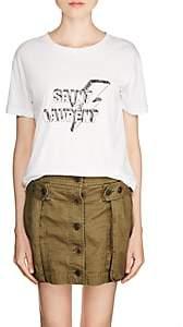 Saint Laurent Women's Lightning-Logo Cotton T-Shirt - White